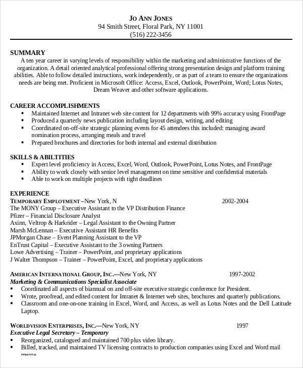 Free Administrative Assistant Resume Administrative Assistant - summary of qualifications for administrative assistant