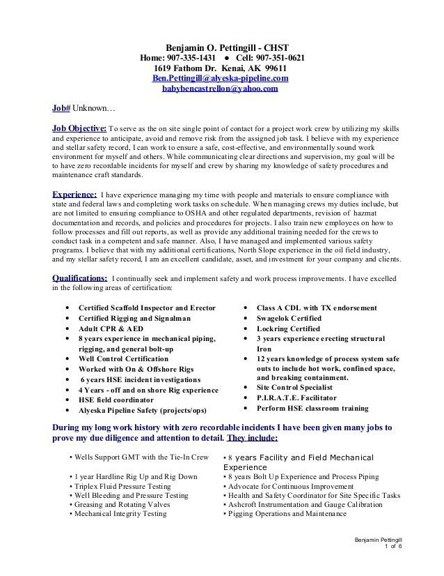 Incident Facilitator Resume Safety Coordinator Resume Safety