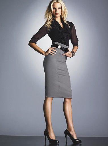 Cute black shirt and grey skirt