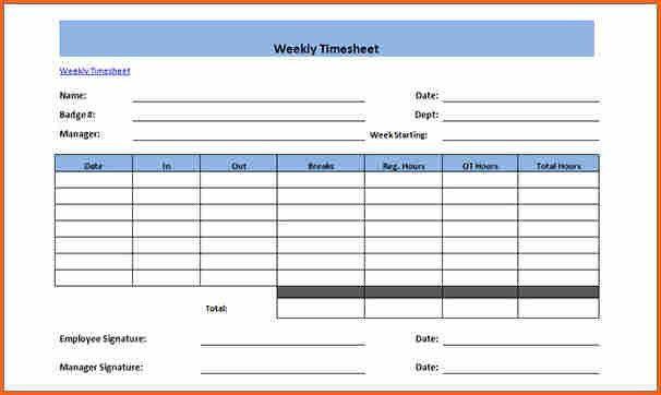 Weekly Timesheet Template 12 Weekly Timesheet Templates Free - sample weekly timesheet