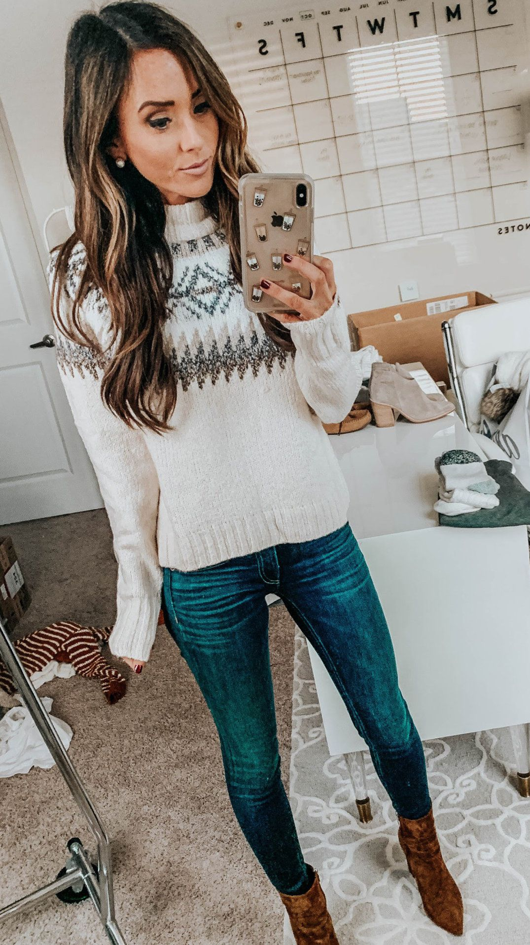 white and gray sweater