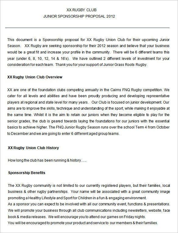 Proposal Template For Sponsorship Sample Sponsorship Proposal - athlete sponsorship proposal template
