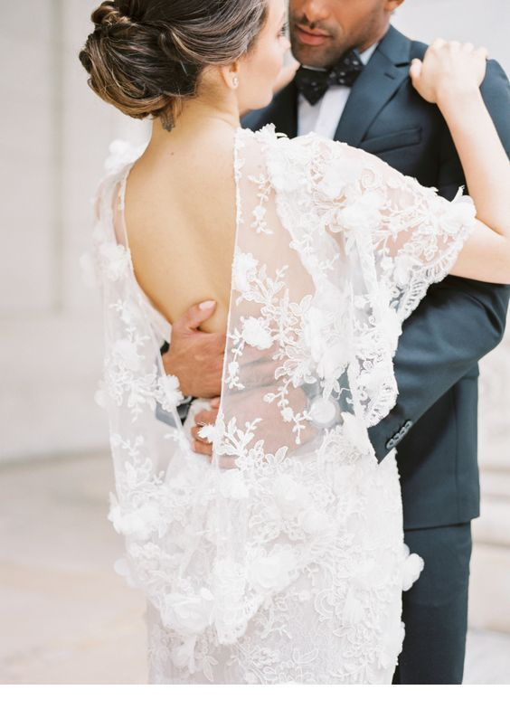 Special backless wedding dress with special lace