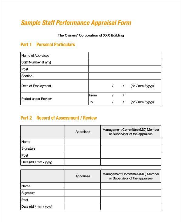 Staff Appraisal Form Template Free Employee Evaluation Form 41 - sample employee appraisal form