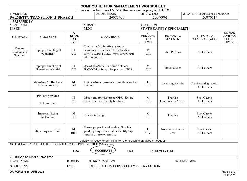Risk Management Form Template Risk Assessment Template Free Word - da form