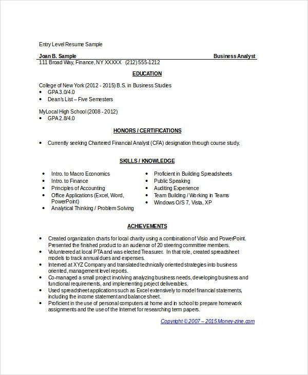 Ba Resume Examples Business Analyst Resume Sample Writing Guide - sample financial analyst resume
