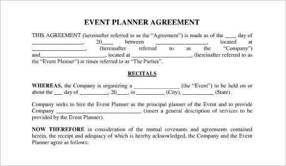 event agreement template | resume-template.paasprovider.com
