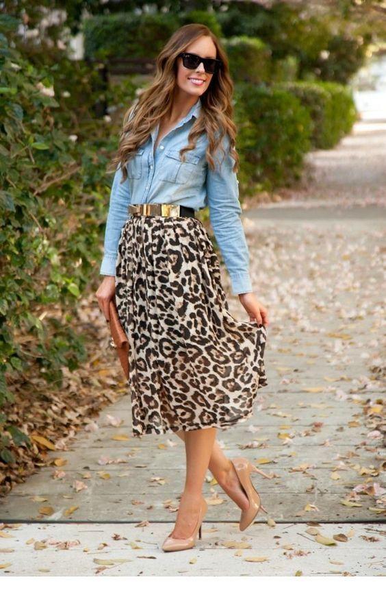 Denim shirt and cute leo skirt