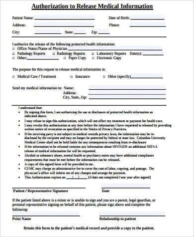 Information Release Form Template Release Of Information Form - medical information release form