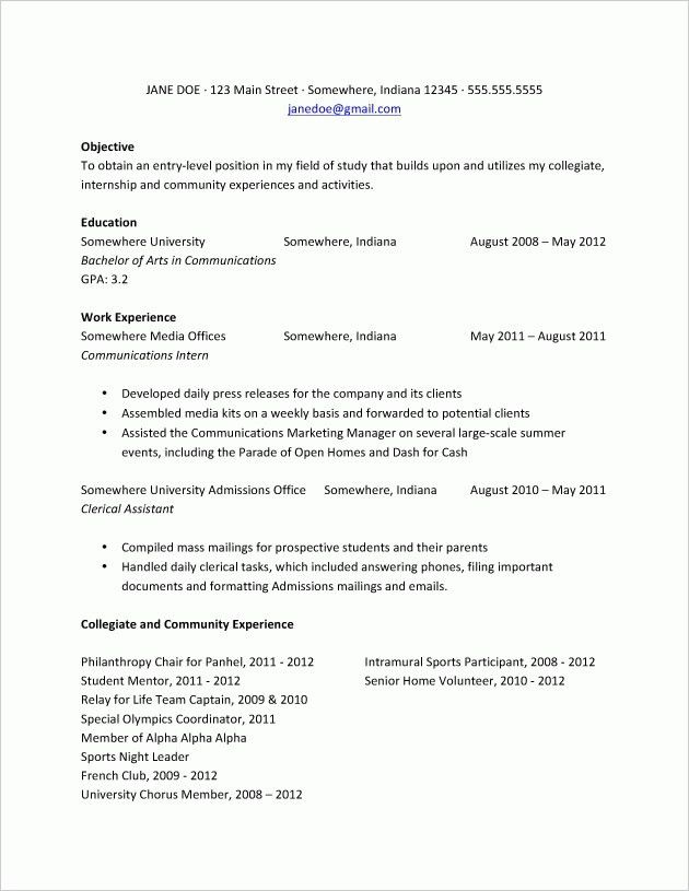College Freshman Resume Example College Freshman Resume Samples