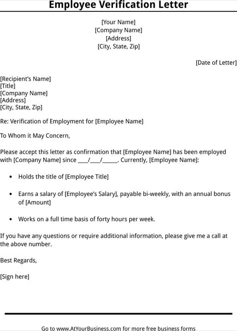 Employment Verification Letter Template 40 Proof Of Employment - employee verification letter