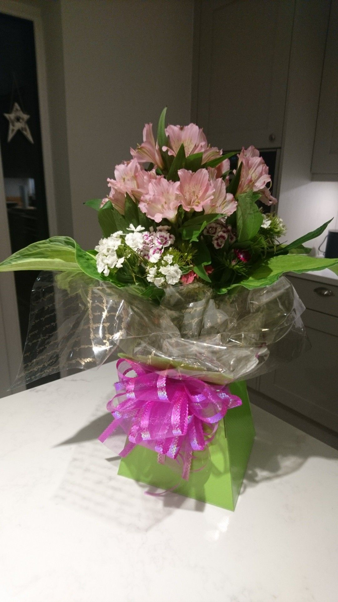 Gift wrapped flowers flowers gift wrapping glass vase