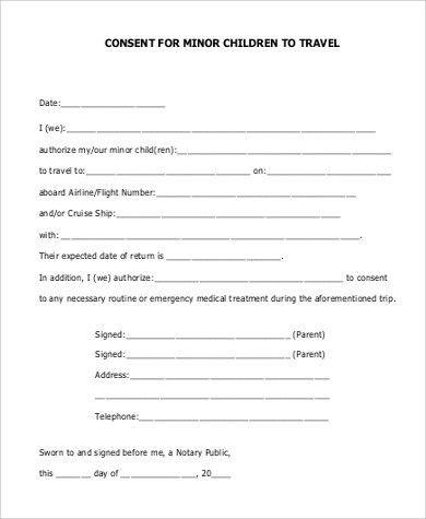 One Parent Travel Consent Form Child Travel Consent Form Sample 6 - travel consent form sample