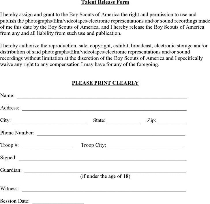 Talent Release Form Template Video Release Forms Printable Sample - sample print release form example