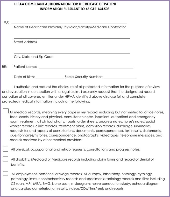 Release Of Medical Information Form hipaa-authorization to - hipaa compliant release form