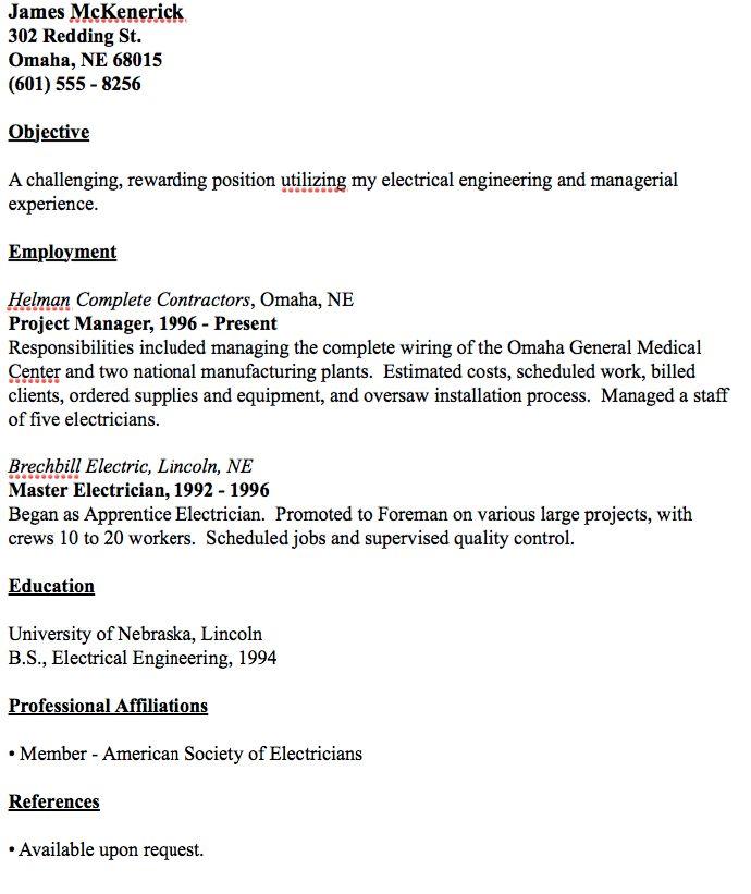 electrician resume hitecauto - master electrician resume