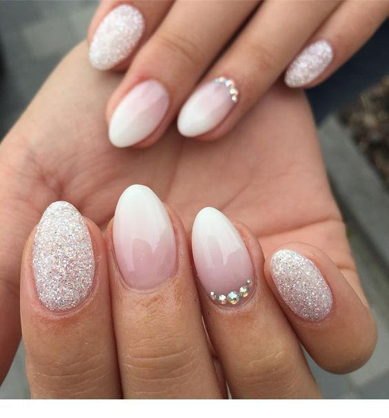 Bride nails with glitter and more