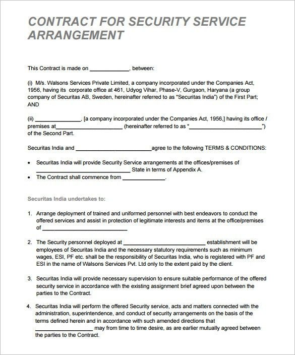 Security Guard Proposal Template 7 Security Contract Templates - proposal contract template