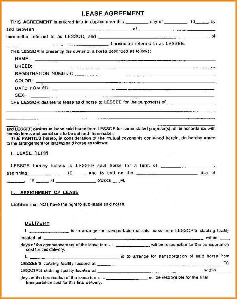 Lease Contract Format Lease Agreement Create A Free Rental - sample horse lease agreement template