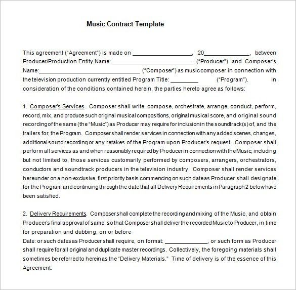 Free Contract Agreement Template Contractor Agreement Template 10 - production contract agreement