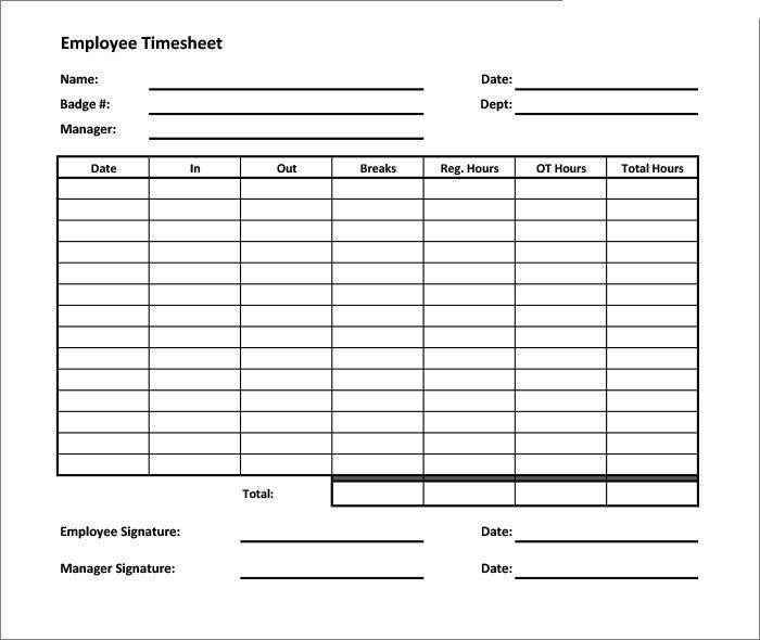 Time Sheet Printable Free Printable Timesheet Templates Free - sample weekly timesheet