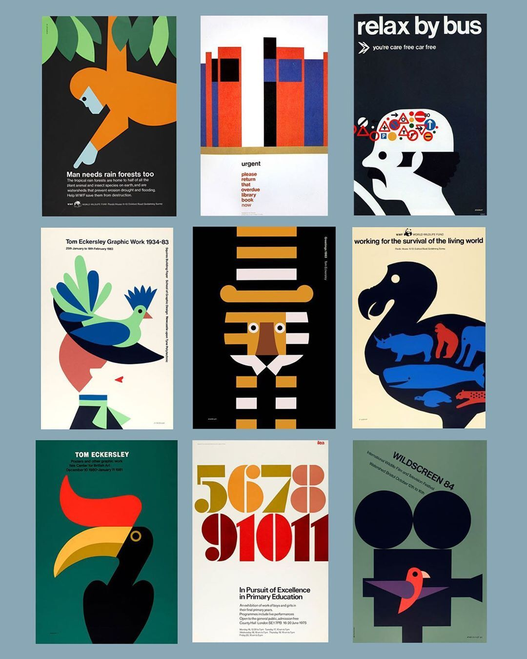 """Julian Montague on Instagram: """"Nine from British designer Tom Eckersley (1914-1997). Eckersley is one of my favorite midcentury graphic designers. I particularly like his…"""""""