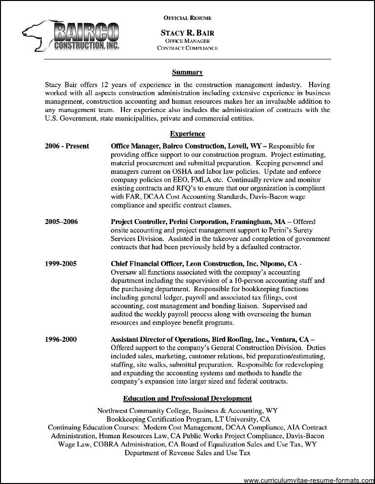 Resume Summary Samples Resume Summary Example 8 Samples In Pdf - contract summary template