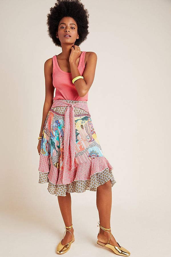 Camella Tie-Front Ruffled Midi Skirt