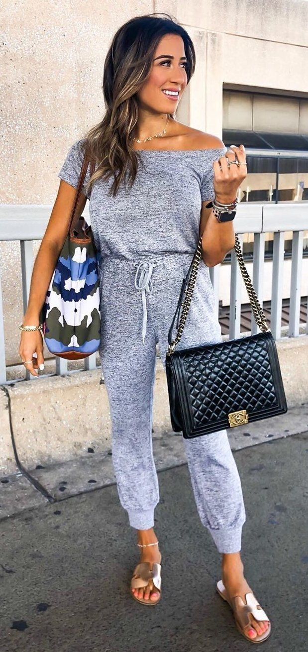 gray off-shoulder rompaers #summer #outfits