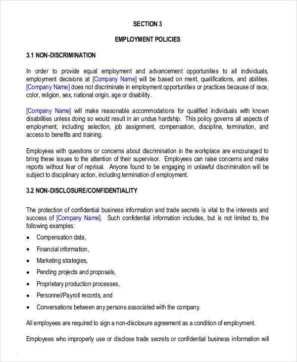 Employee Handbook Template Employee Handbook Template Handbook - staff manual template