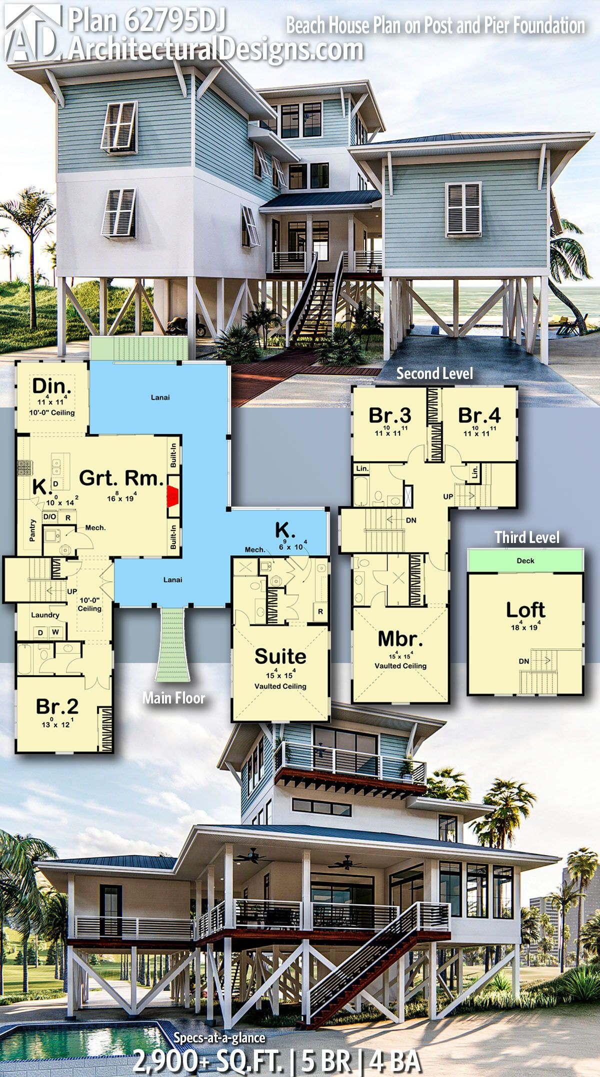 Architectural Designs Beach Home Plan 62795DJ gives you 5 bedrooms, 4 baths and 2,900+ sq. ft. Ready when you are! Where do YOU want to build? #62795DJ #adhouseplans #coastal #architecturaldesigns #houseplans #architecture #newhome #beach #vacation #newconstruction #newhouse  #homeplans #architecture #home #homesweethome