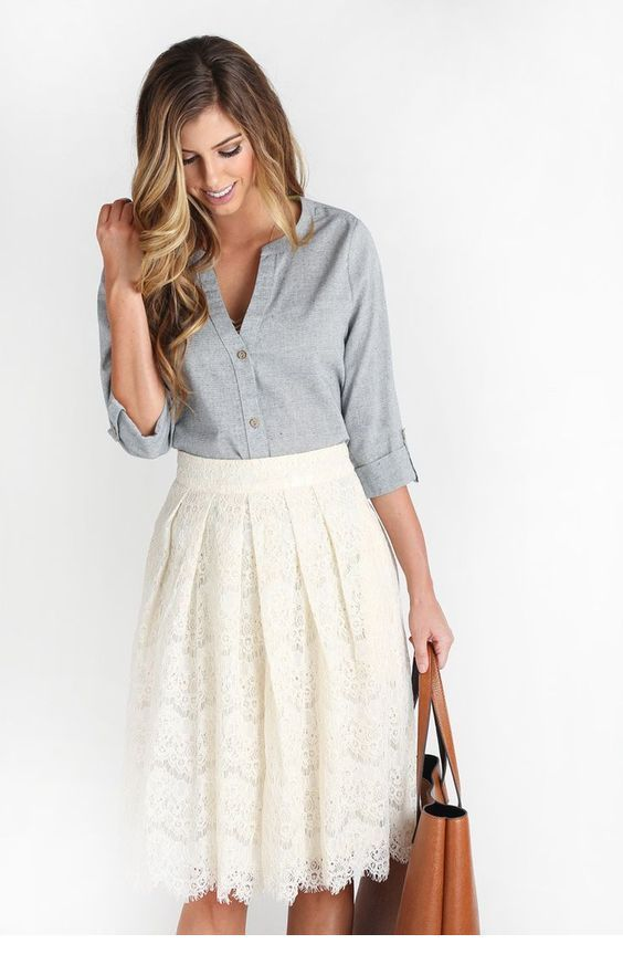 Cute grey shirt and white skirt