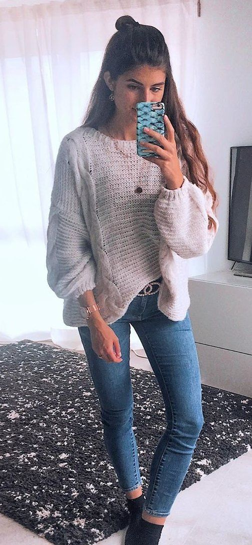 gray sweater #summer #outfits
