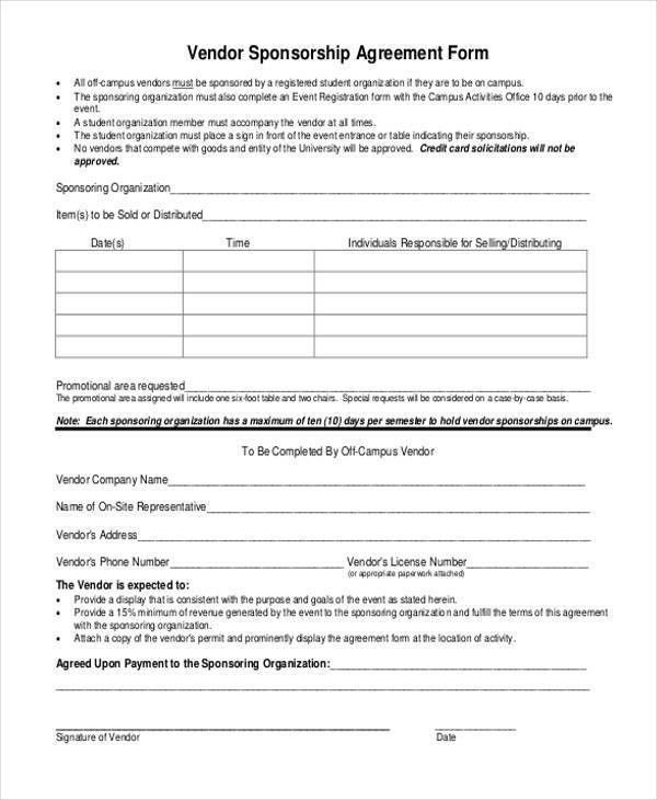 Vendor Agreement Format Vendor Agreement Template 12 Free Word - sponsorship contract template