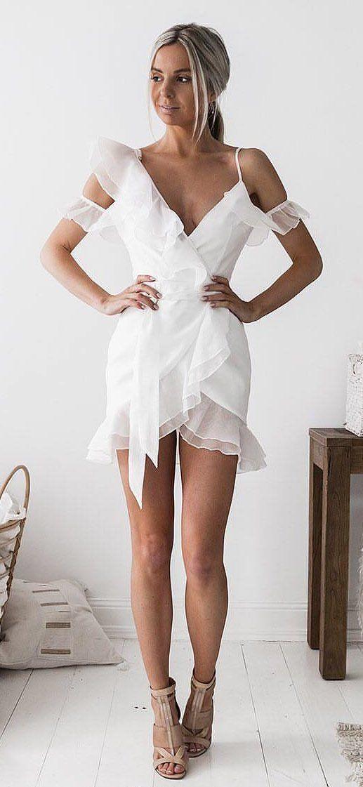 white v neck mini dress #spring #outfits