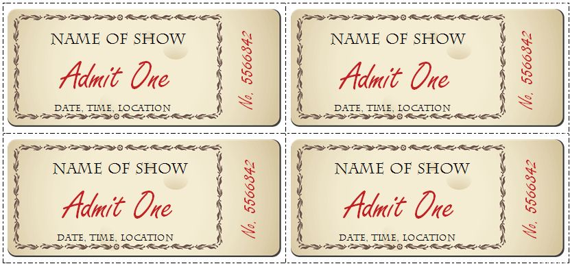 print your own tickets template free