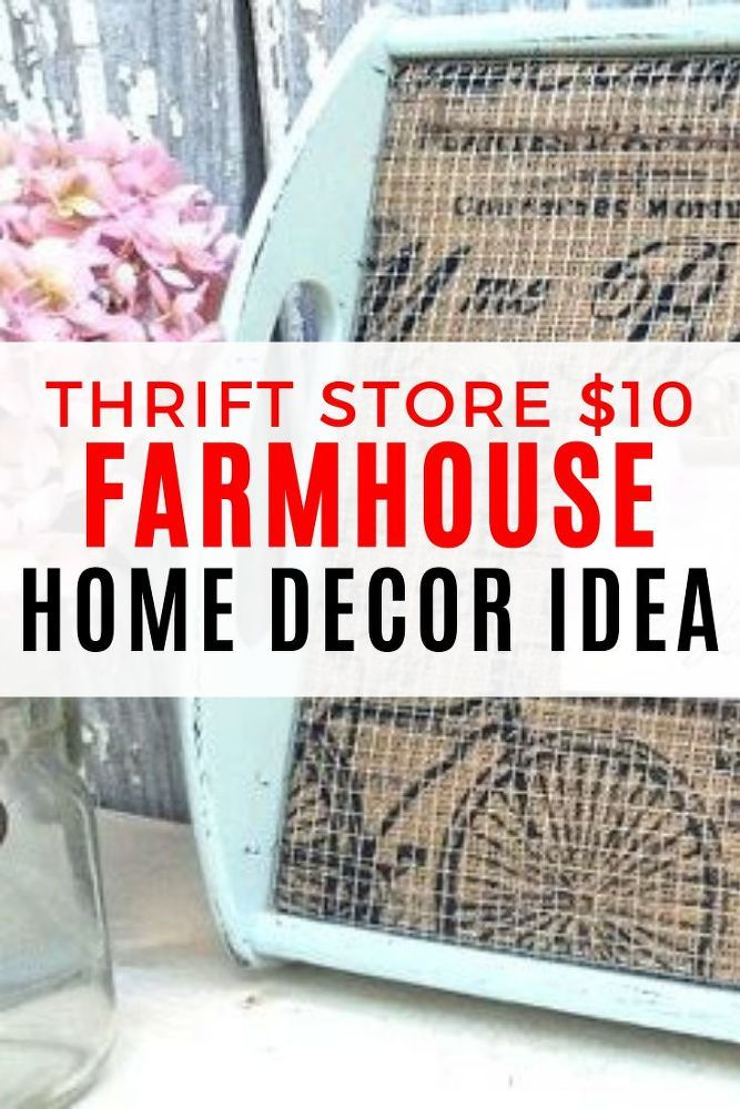 Want to add some farmhouse style to your home decor? check out this easy thrift store diy project to help you decorate on a budget. This upcycled tray gets a complete makeover you won't believe, so check out the before and after photos. #diy #farmhouse #decor #thriftstore