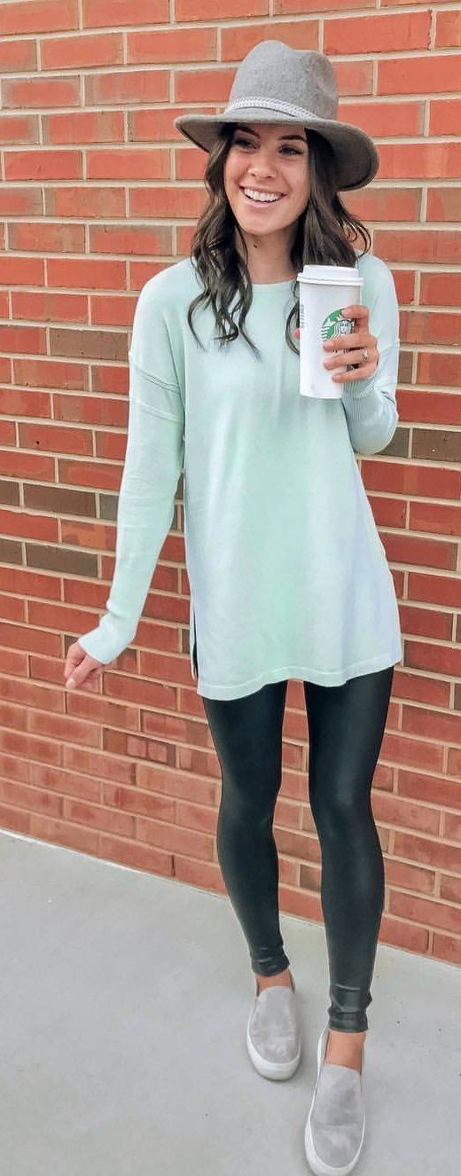 teal long-sleeved top