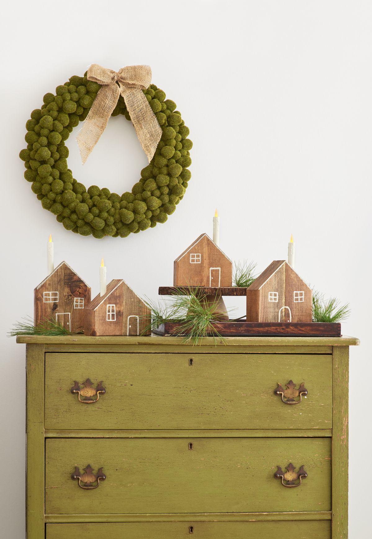 How to create festive wood-block luminaries.