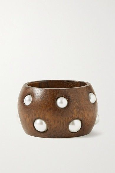 Wood and faux pearl bangle