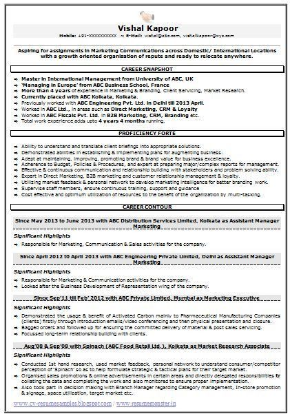 Marketing Research Resume Examples - Examples of Resumes