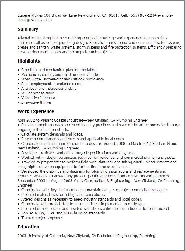 plumbing engineer sample resume - Tradesman Resume Template
