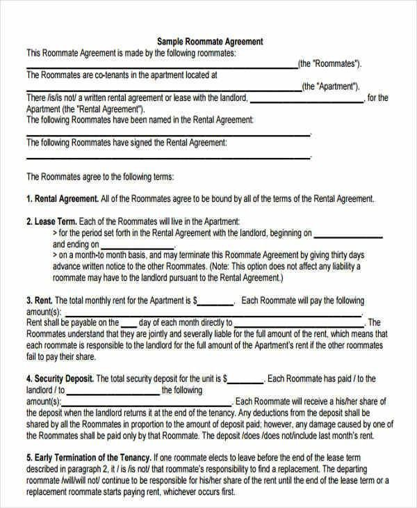 Sample Roommate Contract Best 20 Roommate Contract Ideas On - roommate rental agreement