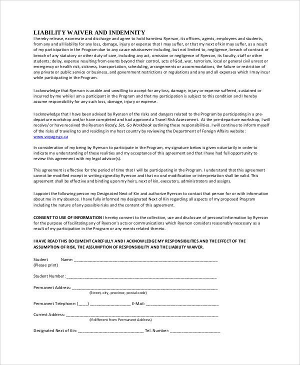 general release form template – General Liability Waiver Template