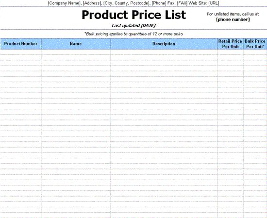 Pricing Sheet Template Price List Template For Excel, Printable - price list sample