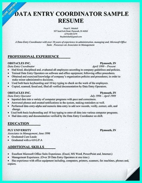 data entry sample resume data entry resume sample writing guide - Order Entry Clerk Sample Resume