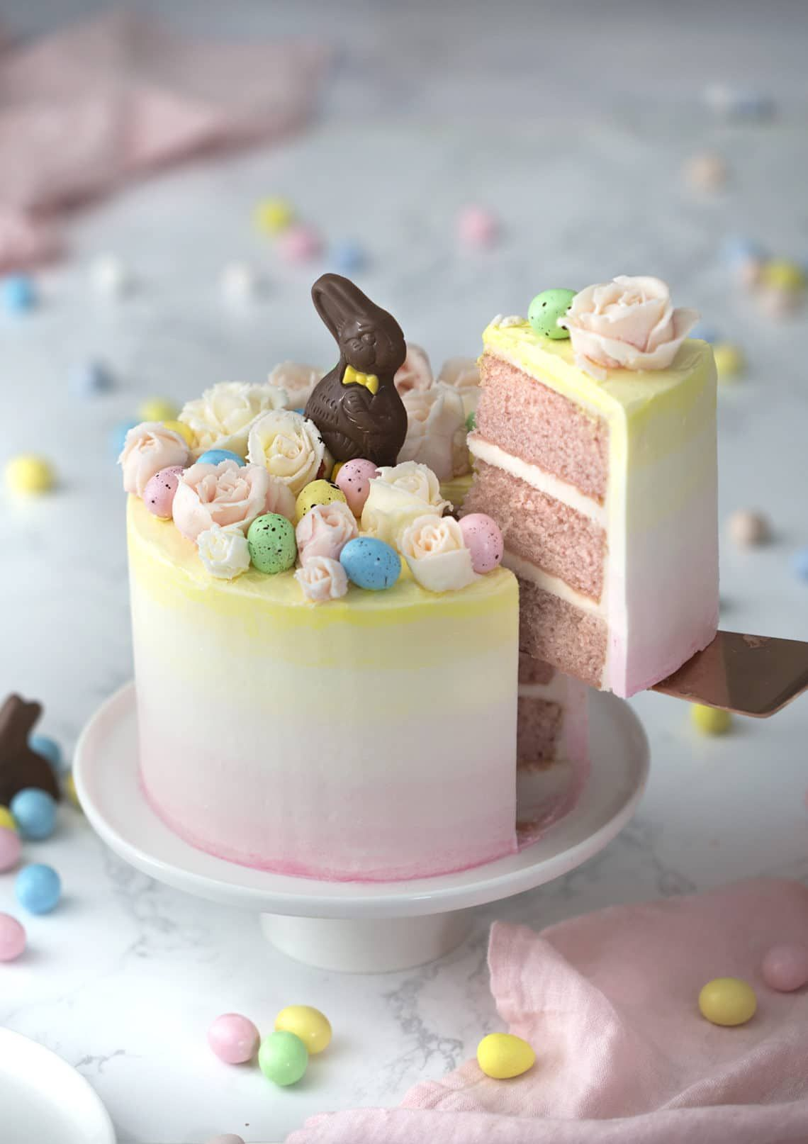 Make a sweet bunny cake for your Easter party this year with one of these clever ideas. #eastercake #easterrecipes #easterdesserts