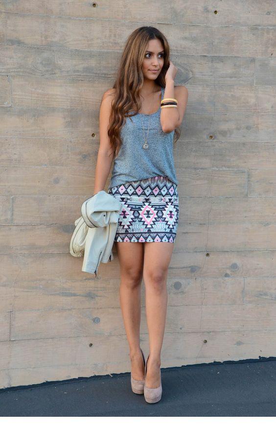 Grey top and tribal mini skirt