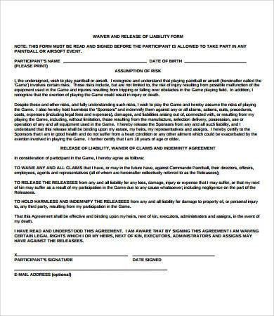 Liability Release Form Template Free Release Of Liability Form - free release of liability form