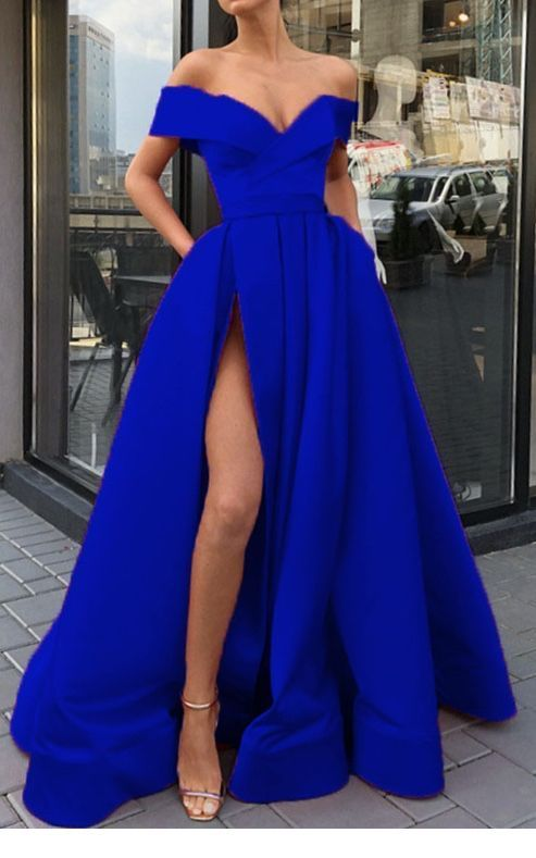 Wonderful simple blue long dress style